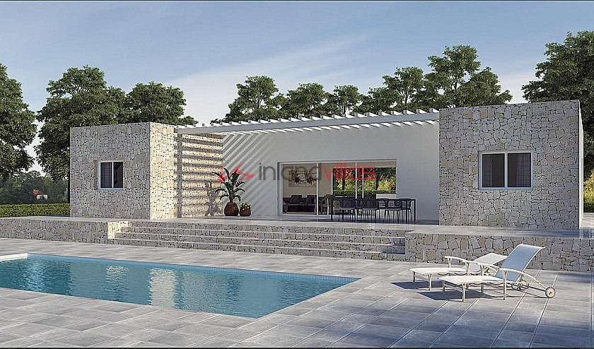 New build with pool and plot walk to Large town in Inland Villas Spain